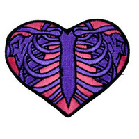 Skeleton Rib Cage Heart Iron On Patch Halloween Applique