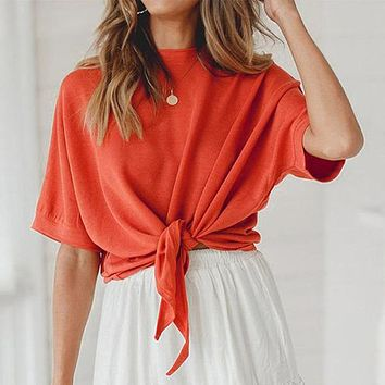 Casual O Neck Short Sleeve Women Crop Tops Solid Color Bow Lace up T-Shirt Streetwear Mujer Tops