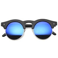 Retro Horned Rim Round Half Frame Mirror Lens Sunglasses 9991