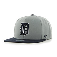 MLB Detroit Tigers Sure Shot Two Tone Captain Adjustable Snapback Hat, Gray, One Size