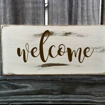 WELCOME Rustic Sign / Distressed Wooden Sign / WELCOME Vintage Sign / WELCOME Rustic Sign