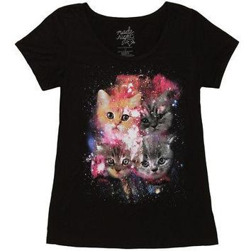 Cats In Space Galaxy Kittens Junior's Black T-Shirt