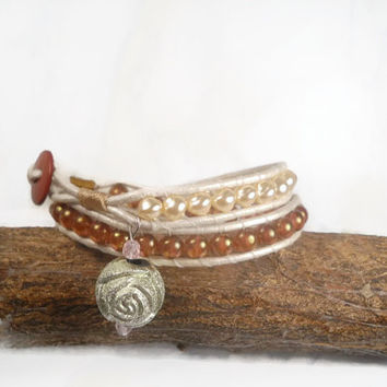 Beaded Wrap Bracelet With Silver Rose Charm