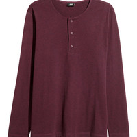 Long-sleeved Henley Shirt - from H&M