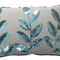 Decorative Colored Sequins Leaves Floral Throw Pillow COVER 20x12