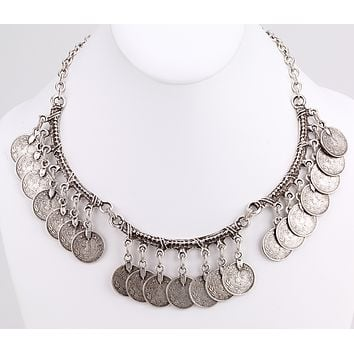 Turkish Coin Drop Collar Necklace