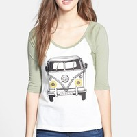 Junior Women's Rip Curl 'By Bus' Graphic Baseball Tee
