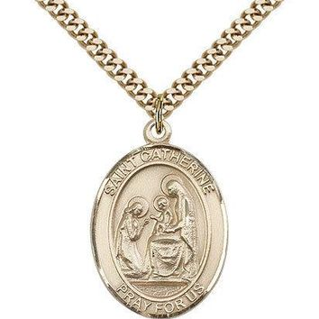 "Saint Catherine Of Siena Medal For Men - Gold Filled Necklace On 24"" Chain - ... 617759783926"