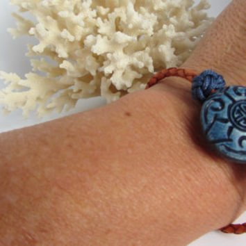 Asian Bracelet Hand Tied Blue Chinese Button Knot Beads Braided Leather Cord Stacking Bracelet Boho Style Gift For Her