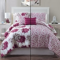 Luxury Rose/ Ivory Carolina King Reversible Comforter Set