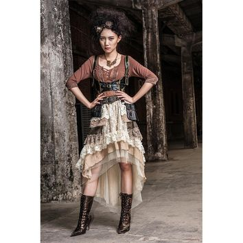 Steampunk Multi-Layered Lace Skirt and Underbust Brocade