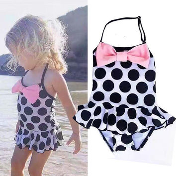 ITFABS Toddler Kids Swimming Costumes Baby Girls Bow Dot Bikini Swimwear Summer Beach Tankini Bathing Suit Swimsuit Beachwear