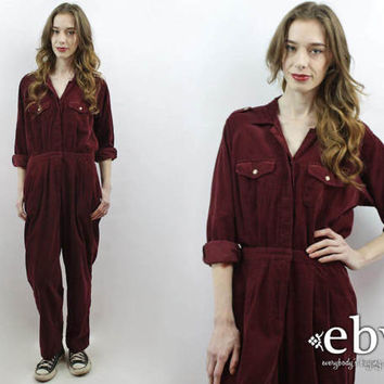 Cord Jumpsuit Corduroy Jumpsuit 90s Jumpsuit Crimson Jumpsuit Burgundy Jumpsuit Mechanic Jumpsuit L 90s Pantsuit
