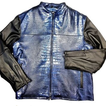 Pelle Pelle Men's Dark Royal Blue Chinese Collar Biker jacket