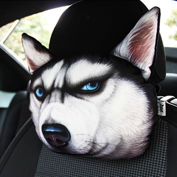 Neck Safety Headrest Printed Animals Face Car Seat Covers