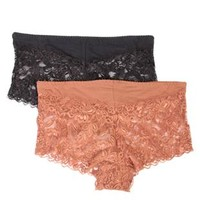 Plus Size Two Pack of All Over Lace Boyshort