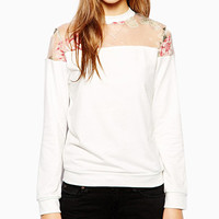 White Mesh Floral Print Sweater