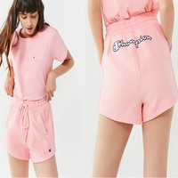 Champion Shirt Top Tee Shorts Set Two-Piece B-CY-MN Pink