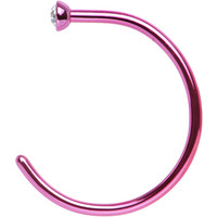 "20 Gauge 3/8"" Clear Gem Pink Anodized Titanium Nose Hoop 