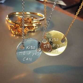 ONETOW LA MÔME BIJOU' Fashion Accessories 'KISS ME IF YOU CAN' Letter Round Card Pendant Long Necklace