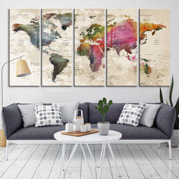 57369 - Large Wall Art World Map Canvas Print- Custom World Map Push Pin Wall Art- Custom World Map Canvas Poster Print- Personalized Wall Art