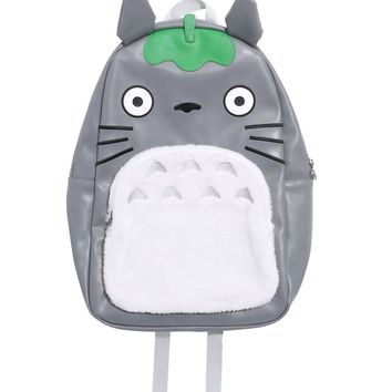 Licensed cool Studio Ghibli Totoro Leaf Face Furry Tummy Character Backpack School Book Bag