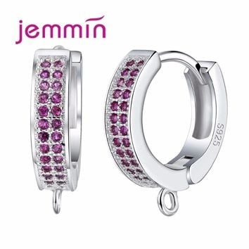 Jemmin Sparkly White/Fuchsia Crystal Wide Hoop Earrings 10PCS Sale 925 Sterling Silver Jewelry Components for Women Wedding