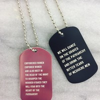 Stab the Patriarchy and Dance on Its Grave: Feminist Dog Tag Necklace Set in Pink and Black
