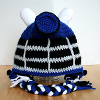 Baby Dalek Hat, Baby Robot Hat, Doctor Who inspired crochet Dalek Hat, Robot hat with earflaps in sizes 12 months to 4T