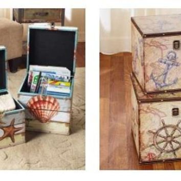Set of Decorative Storage Trunks Boxes Nautical Coastal or Country Themed