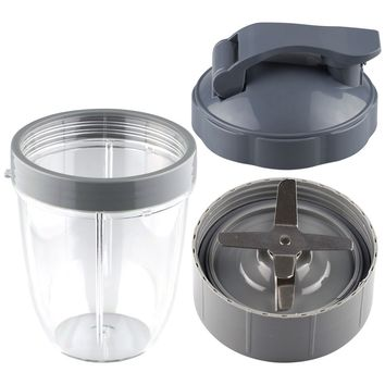 NutriBullet Extractor Blade + 18 oz Short Cup with Lip Ring and Flip To-Go Lid