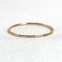 10k Solid Gold Ring - Wavy or Straight Thread of Gold - Tiny Halo Hammered Stack Ring - Skinny and Thin