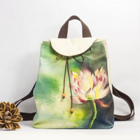 watercolor lotus - the handcrafted/hand painted backpack