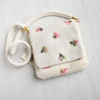 Vintage Petit Bead White Floral Purse - 1950s 1960s Designer Lumured New Old Stock Beaded Bag / Pink Flowers