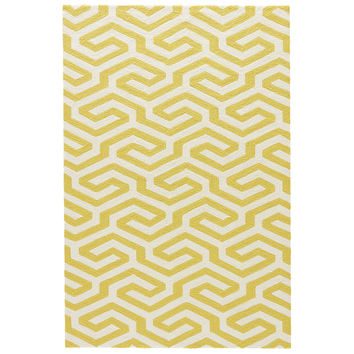 Indoor-outdoor Geometric Pattern Yellow/White Polypropylene Area Rug ( 5x7.6)