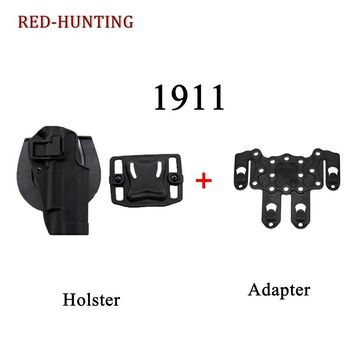 CQC Tactical Airsoft Gear Gun 1911 Holster with Molle Adapter Pouch Gun Sling Tactical Waist Gun Belt Holster for Colt 1911