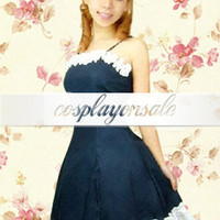 Lolita Costumes Spaghetti Pintuck Ruffle Cotton School Lolita Dress [T110341] - $82.00