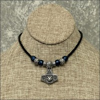 Norse God Odin with Wolf Mjolnir on Premium Braided Leather Cord Necklace with Accent Beads
