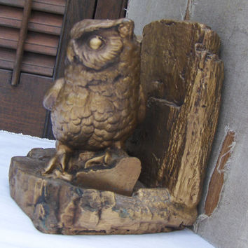Vintage Owl Bookend Set Pair of Signed Owl Bookends