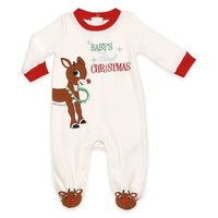 """Rudolph """"Baby's First Christmas"""" Velour Footie in Ivory"""