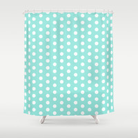 Polka Dot Tiffany Blue Shower Curtain by Beautiful Homes