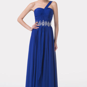 Blue One Shoulder Beaded  Ruched Flounce Maxi Dress