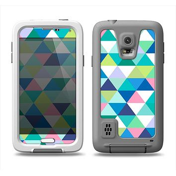 The Vibrant Fun Colored Triangular Pattern Samsung Galaxy S5 LifeProof Fre Case Skin Set