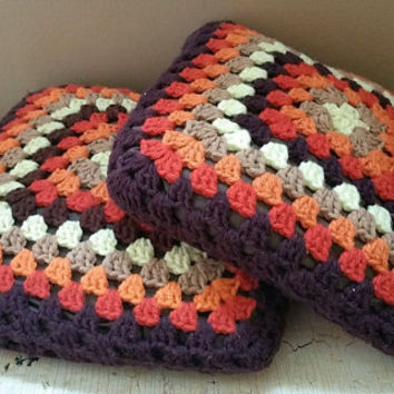 "Pair Vintage Brown Granny Square Crochet 12"" Pillows"