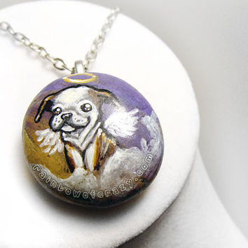 Bulldog Necklace, Pet Loss Pendant, Angel Dog Jewelry, Pet Memorial Accessory, In Memory, Bull Dog Puppy Charm