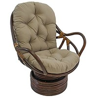 "Blazing Needles Solid Twill Swivel Rocker Chair Cushion, 48"" x 24"", Toffee"