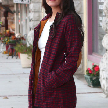 Elbow Patch Lumberjack Plaid Flannel Jacket {Burgundy/Navy}