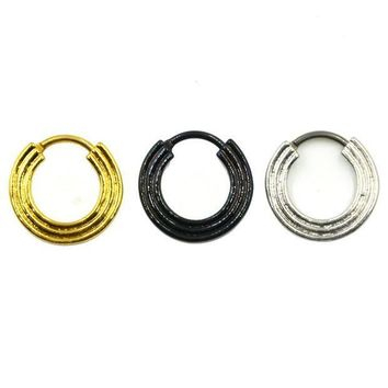 ac PEAPO2Q Gold/Silver/Black Titanium Triple Line Nose Septum Clicker Piercing Body Jewelry Retainer Nose Stud Ring Ear Helix