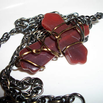 Men's Agate Wire Wrapped Cross Pendant and Necklace