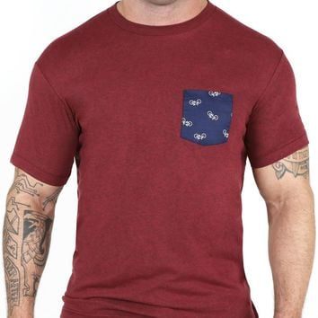Burgundy with Navy Flying Bikes Print Pocket Tee